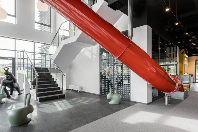 steel slide in office interior