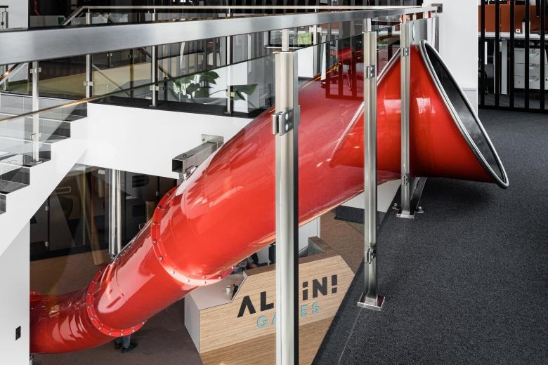 steel slides in office interior design