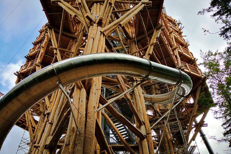 steel slide on wooden tower